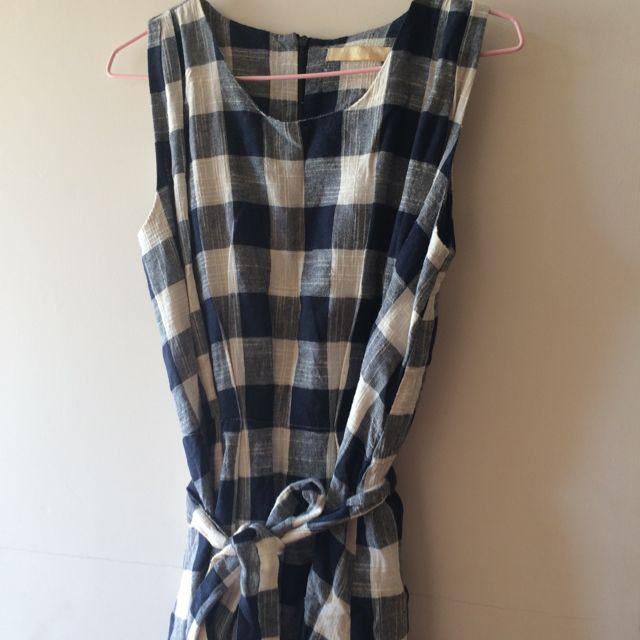 ✨韓貨✨藍白格紋無袖長洋裝