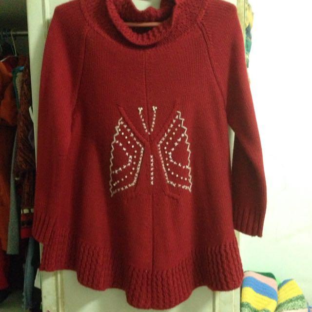 紅色保暖半高領針織傘狀上衣