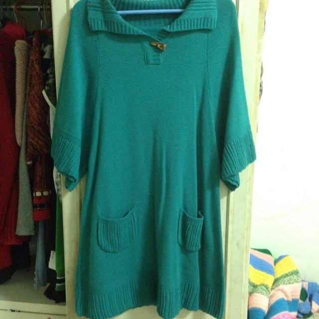 泰瑞綠保暖長版針織上衣