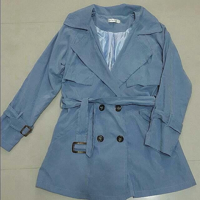 (全新)氣質藍風衣外套