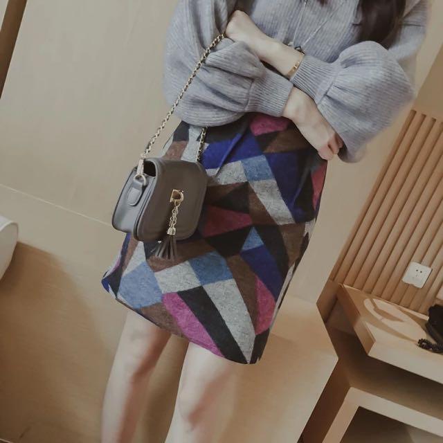 韓版幾何包臀短裙