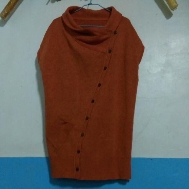 長版毛衣 (橘紅色)