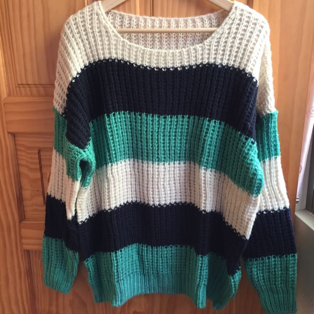 <全新>正韓 藍綠條紋編織毛衣 寬鬆版毛衣