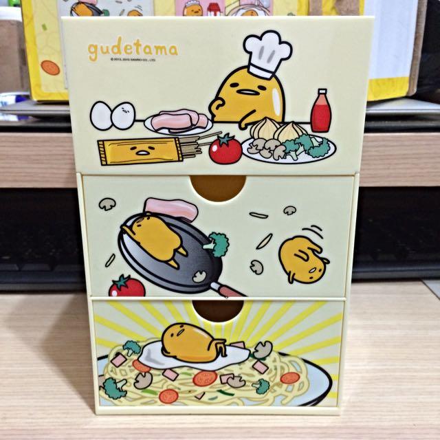 蛋黃哥 三層抽屜造型收納盒 法式主廚義麵款