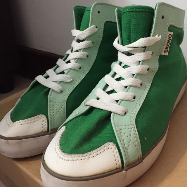 潮牌 二手 SKONO 綠色 休閒 帆布鞋 皮 防潑水 高筒