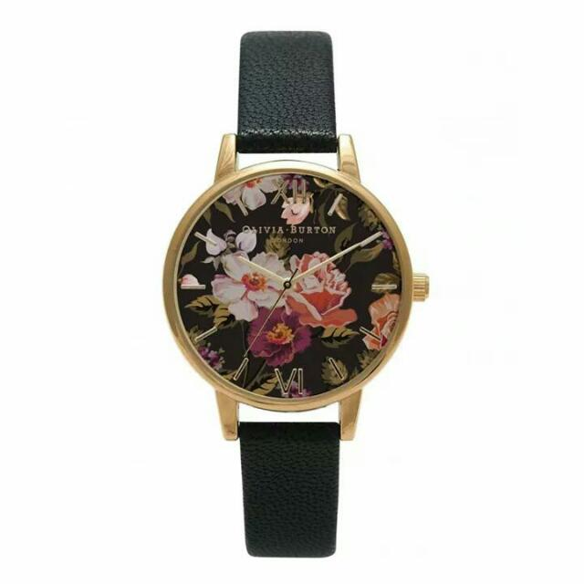英國品牌 Olivia Burton 女錶 Winter Garden Floral Black Watch