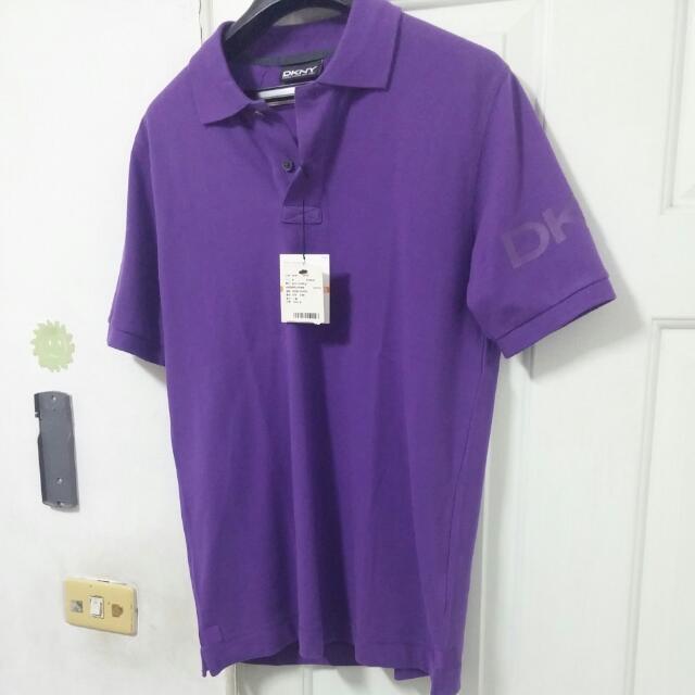 (等待匯款)全新真品DKNY紫色短袖Polo衫, Slim Fit 修身剪裁,S號附吊牌,原價3990