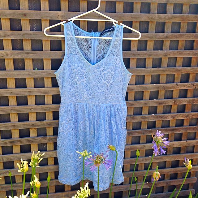 Esposito Sky Blue Lace Dress Size 10