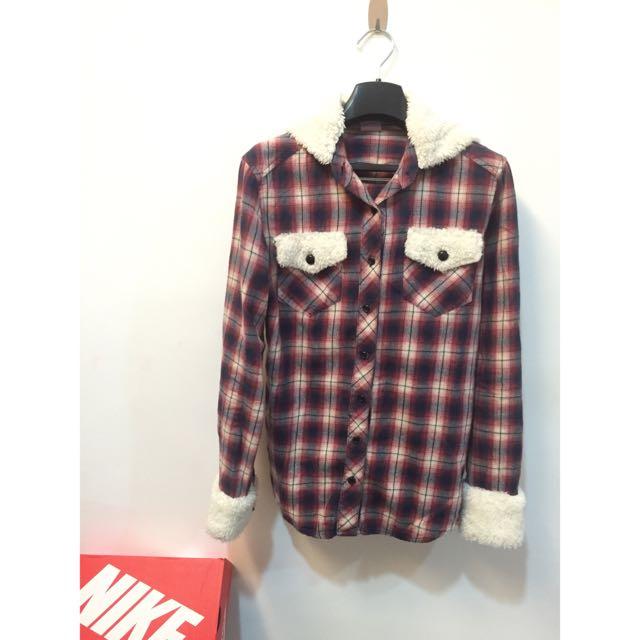 Fi二手衣🍭stockton專櫃絨毛紅格襯衫