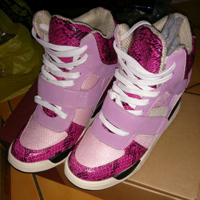 正韓版內增高球鞋粉紅蟒蛇紋L號
