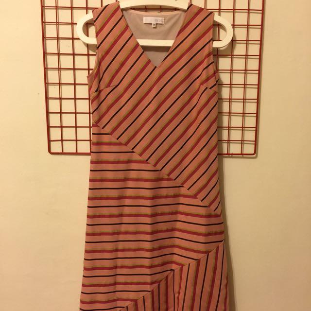 OZOC斜條紋洋裝