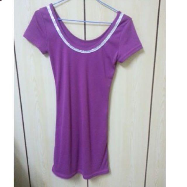 紫色貼身長版T