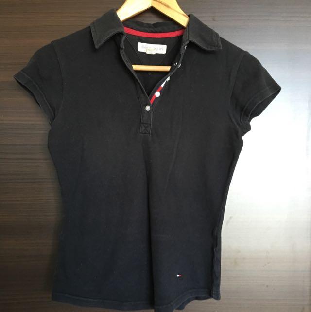 Tommy Hilfiger 黑色polo衫 (size:s)