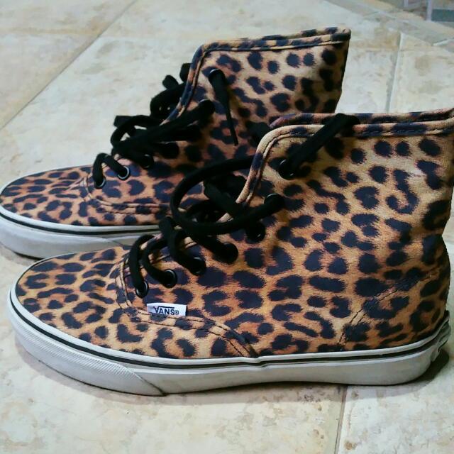 af5848b61a Vans High Cut Leopard Print Sneakers - Pre-loved