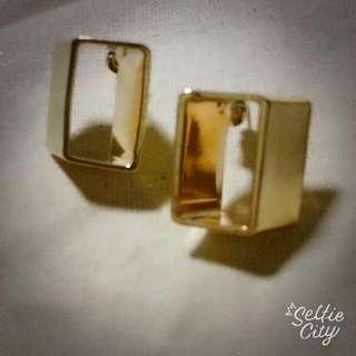 復古立方體方塊幾何耳環