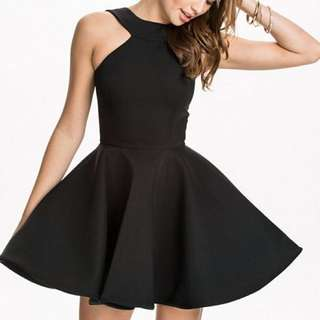 🔥歐美繞頸削肩黑色裙子 (Black Halter Party Dress)