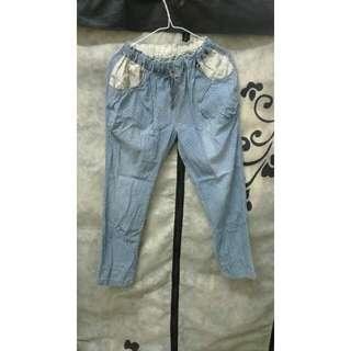 日系 蕾絲 男友褲 寬褲