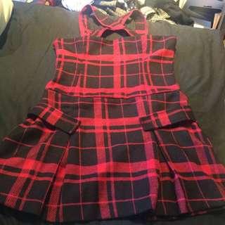 ✨正韓毛呢蘇格蘭格紋黑紅格子打褶吊帶洋裝/吊帶裙