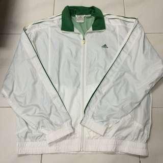 古著 復古 經典綠白愛迪達外套