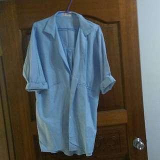 正韓❤️淺藍挺版西裝襯衫