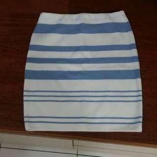 正韓❤️白藍毛料彈性窄裙