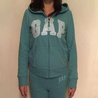 [降價]Gap連帽外套+棉褲套裝組-湖水綠