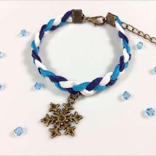 冰藍聖誕雪花皮繩手鍊(聖誕禮物)