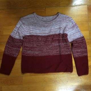 紅色漸層短板針織衫