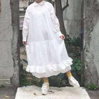 保留中-白色長版蓬蓬裙洋裝👗(全新)
