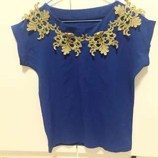 Electric Blue and Gold Top