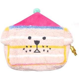 CRAFTHOLIC 聖誕狗 化妝包 外出包 絨毛 立體耳朵 娃娃 大臉 筆袋粉紅色 聖誕節禮物