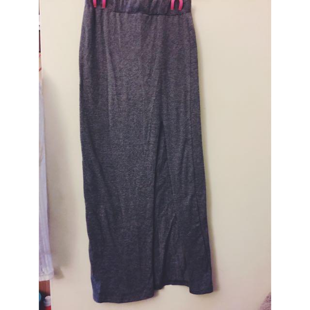 二手灰色開衩長窄裙