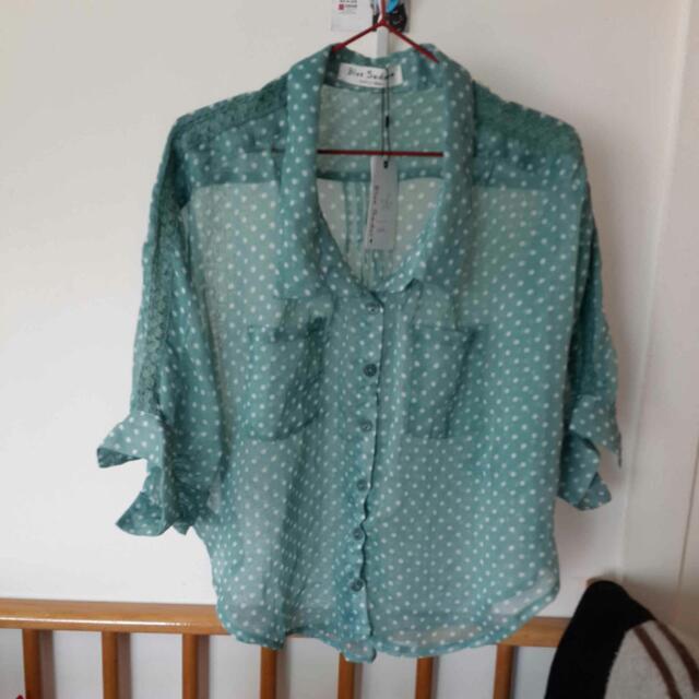 """代售""""全新""""淺綠色白點七分袖襯衫"""