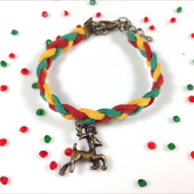聖誕小鹿皮繩手鍊(聖誕禮物)