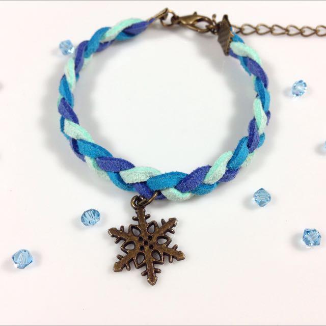 冰雪聖誕雪花皮繩手鍊(聖誕禮物)
