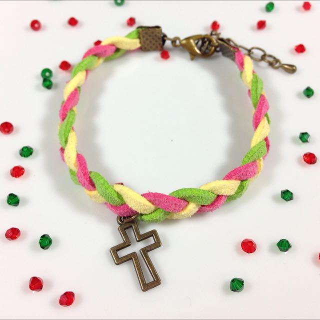 聖誕配色十字皮繩手鍊(聖誕禮物)