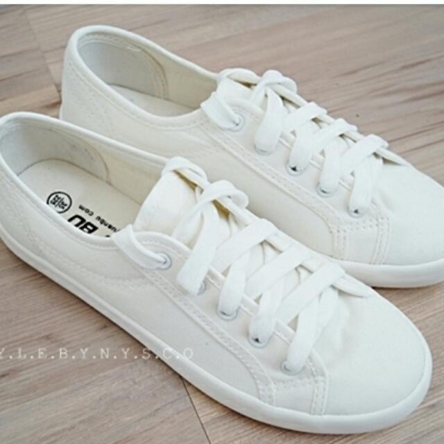 小白鞋/綁帶布鞋 (24號)