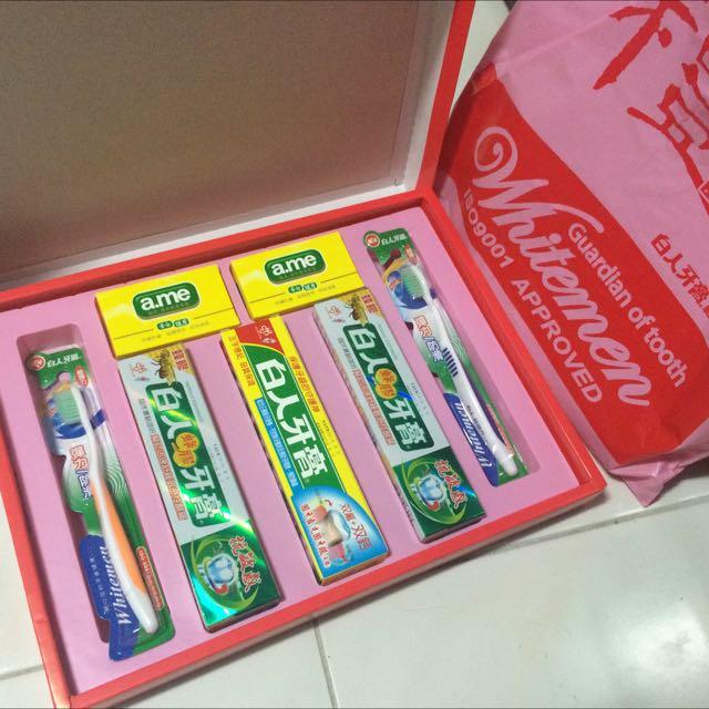 牙膏牙刷肥皂禮盒 有三盒