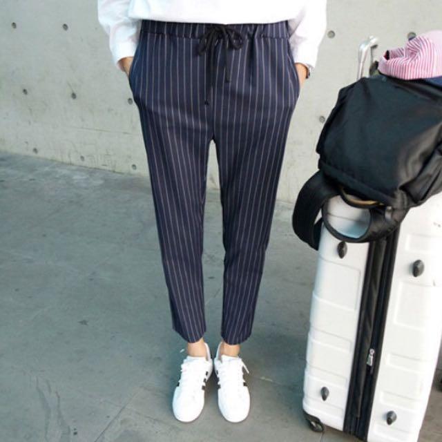 (含運)直條紋 長褲/西裝褲 黑色