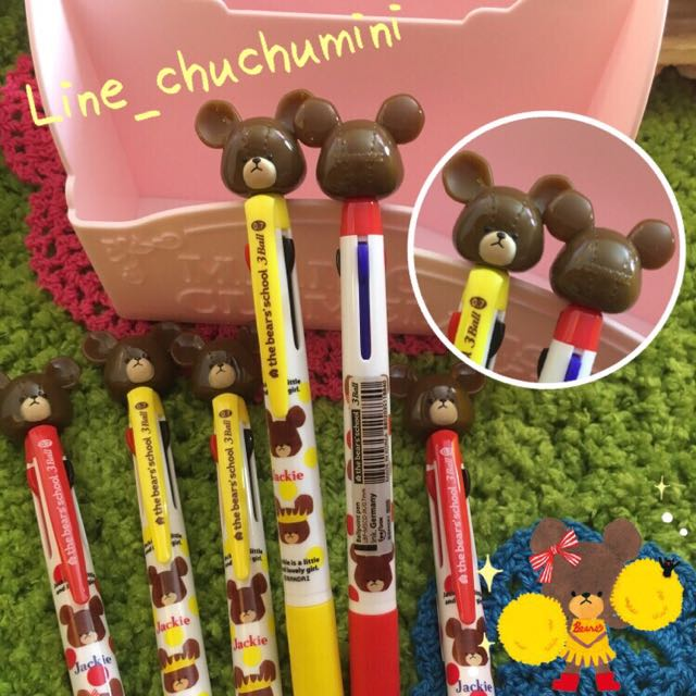 韓國製學校小熊 上學熊 The Bears School 三色筆 滑順好寫油性筆