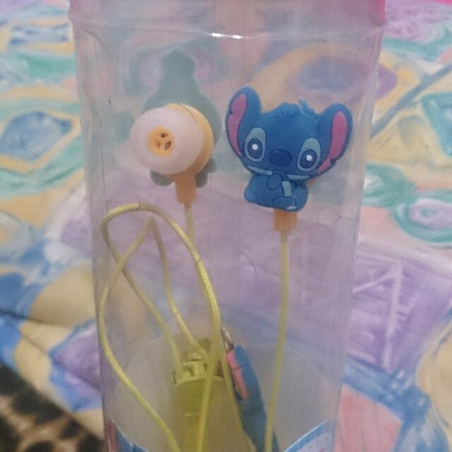 全新 迪士尼 史迪奇醜ㄚ頭拉鏈式耳機 (聖誕節禮物 交換禮物 生日禮物)