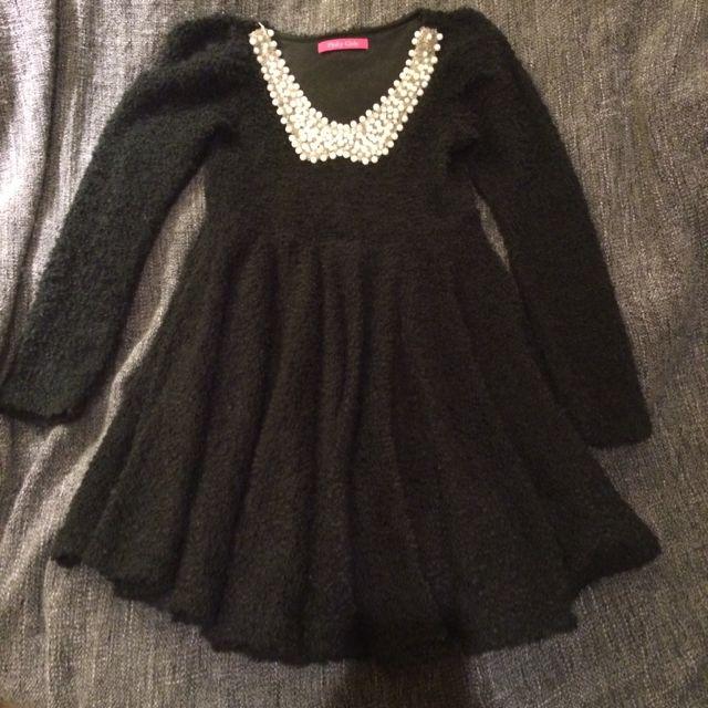 日本專櫃 Barbie副牌pinky Girls 黑色珍珠領蓬裙高腰洋娃娃洋裝
