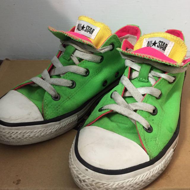 All Star Converse 螢光 綠黃粉 彩色 復古 帆布鞋