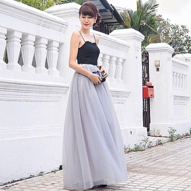 590b14f55 BNIB VGY Vaingloriousyou Auriele Ballerina Tulle Mesh Maxi Skirt, In Grey,  Size M, Women's Fashion on Carousell