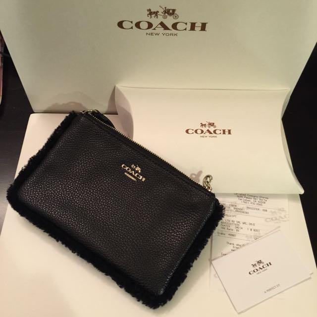 美國代購⭐️現貨➡️Coach黑色皮革手拿包