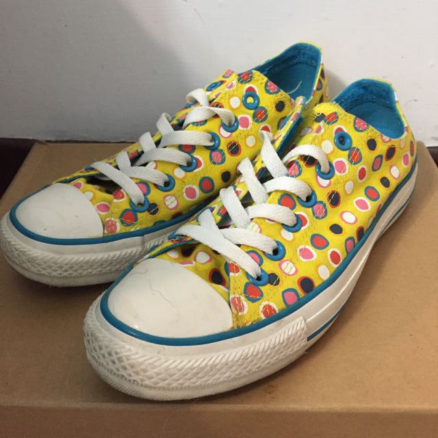 Converse All Star 黃色 幾何 點點 彩色 復古 低筒 帆布鞋