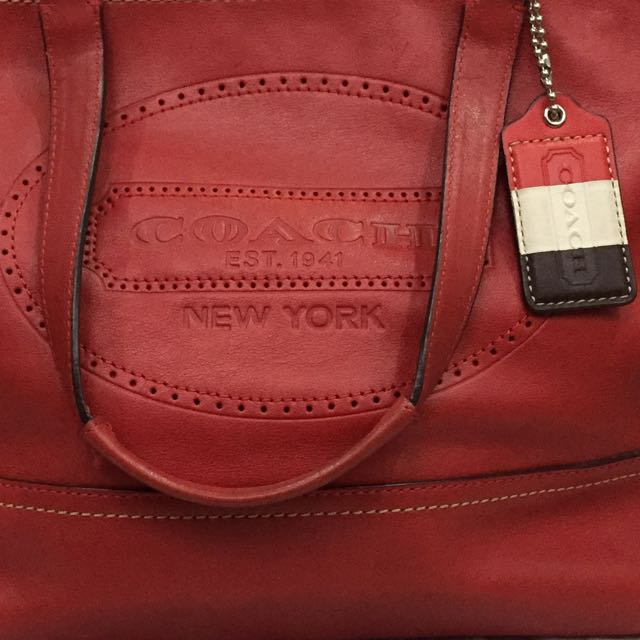 (Further Reductions) Coach Hamptons Weekend Leather Tote F19391