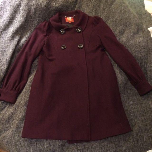 KnightsBridge酒紅色學院風雙排扣羊毛大衣M號