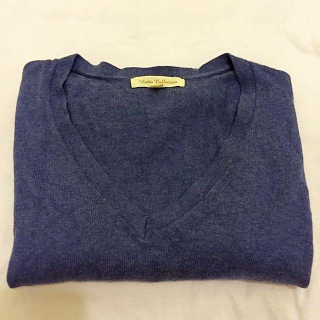 Lativ 女v領麻灰藍針織衫