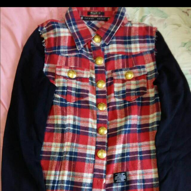 Major 格紋接袖襯衫